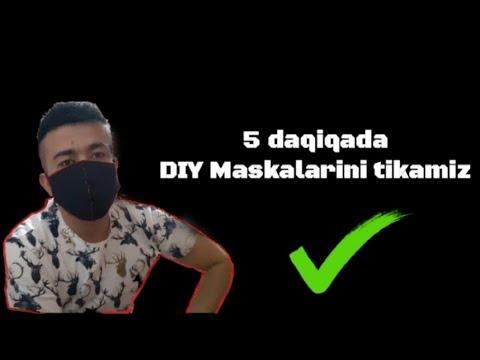 Uy sharoitida DIY Maskalarini  5 daqiqada tikish / Уй шароитида маска тикиш тартиби/Маска за 5 минут