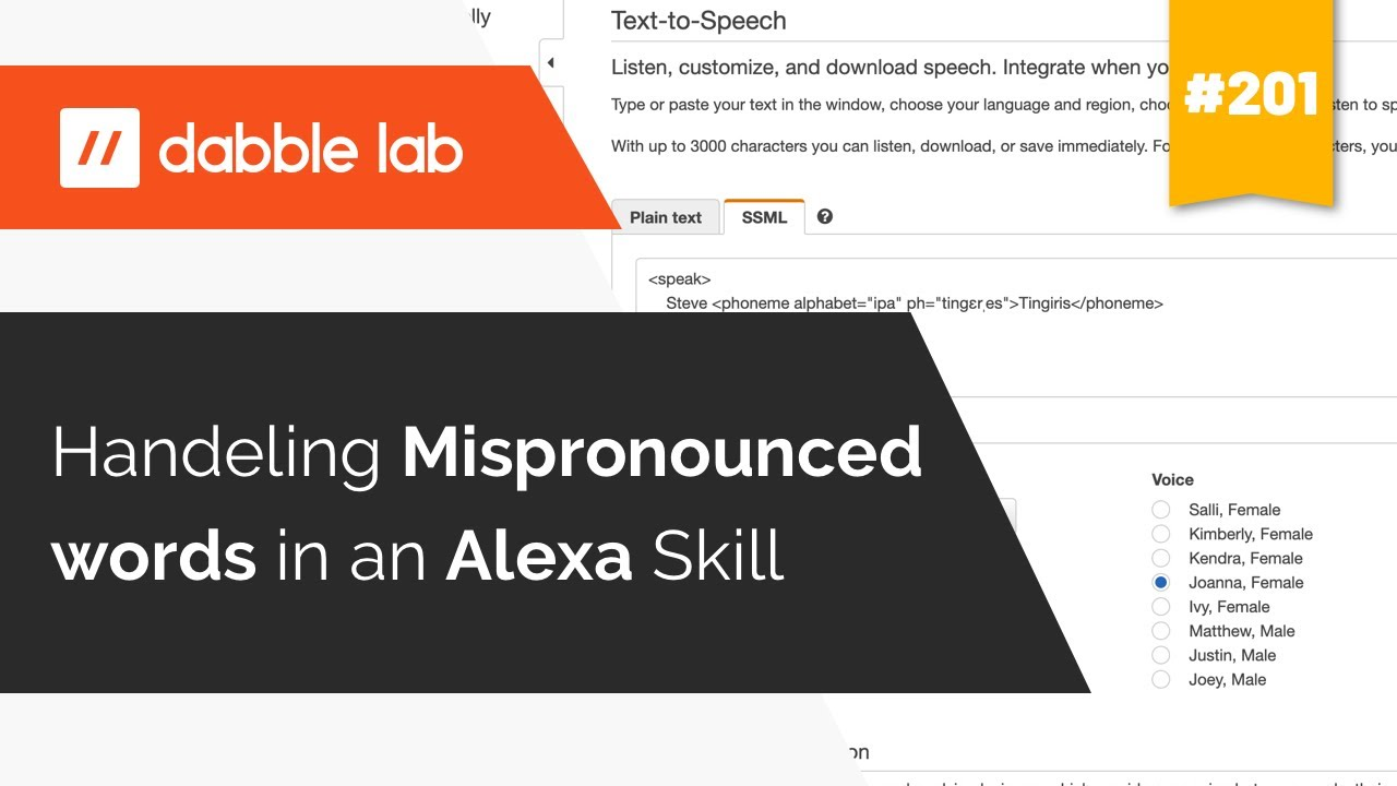 Dealing with Mispronounced words in an Alexa Skill - Dabble Lab #201