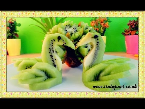 Art In Kiwi Fruit Lotus Flowers & Swans Vegetable and Fruit Carving Garnish | Fruit Decoration