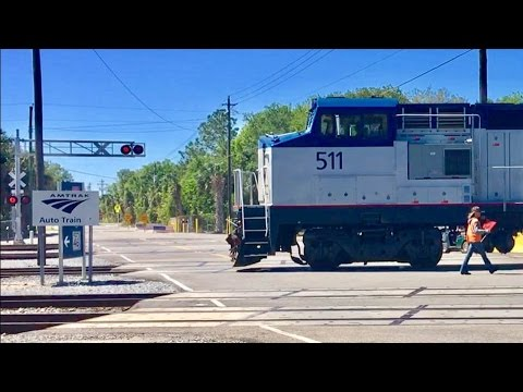 Thumbnail: Car Almost Hit By Train At 10 Track Crossing! Amtrak Auto Train & CSX!