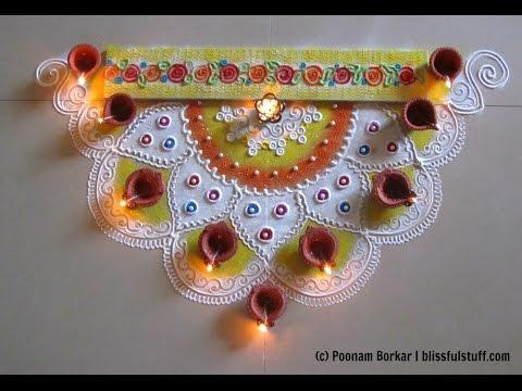 Beautiful and unique corner rangoli design for diwali | Innovative rangoli designs by Poonam Borkar