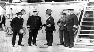 King George V of Britain and Prince of Wales visit battleship New York in North S...HD Stock Footage