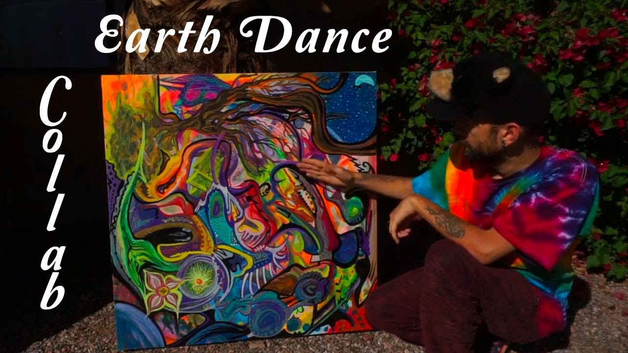 Earth Dance Collaborative Art ~ Colorful Abstract Painting