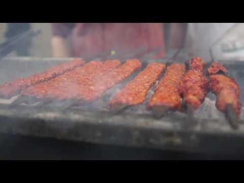 Ben tending to the Adana kebabs in Gaziantep