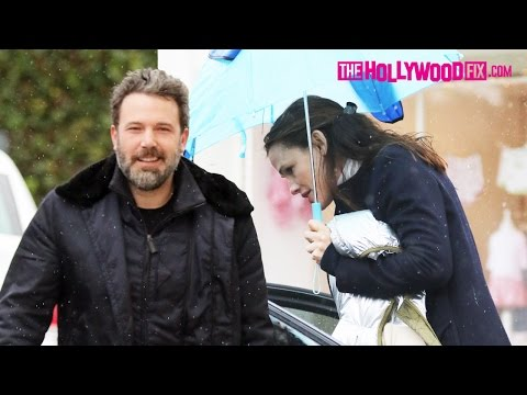 Ben Affleck & Jennifer Garner Show Off Their New Bentley At Church In The Rain 1.22.17