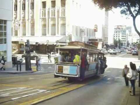 Cable tram on a steep hill in San Francisco, California, USA