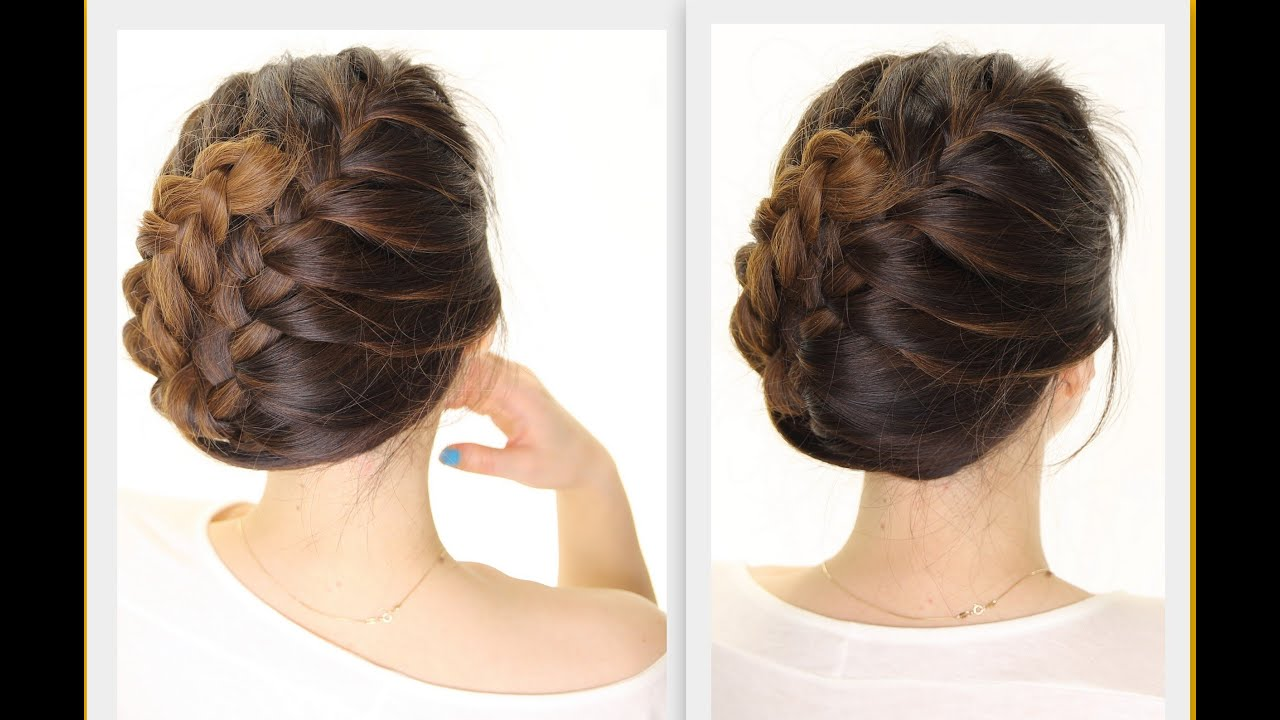 5 Minute French BRAID Updo  Easy Summer HAIRSTYLES  YouTube