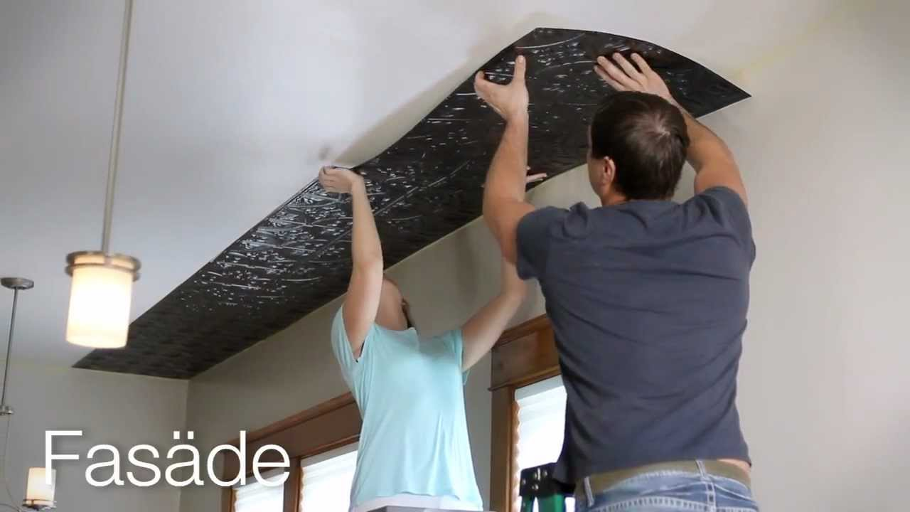 3d Peel And Stick Brick Wallpaper Fasade Glue Up Ceiling Panel Installation Youtube