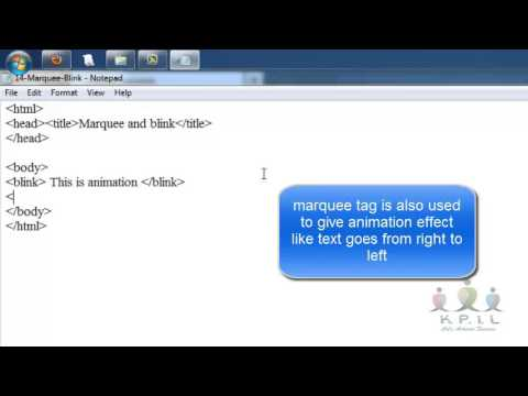 Marquee Blink in HTML - Demo Video - Kalyani Education