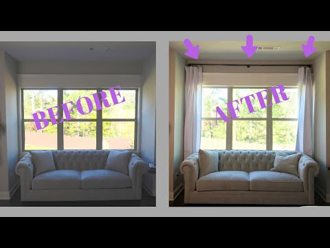 Drapes DIY: How To Hang Curtain Rod and Window Treatments (Drape Panels)