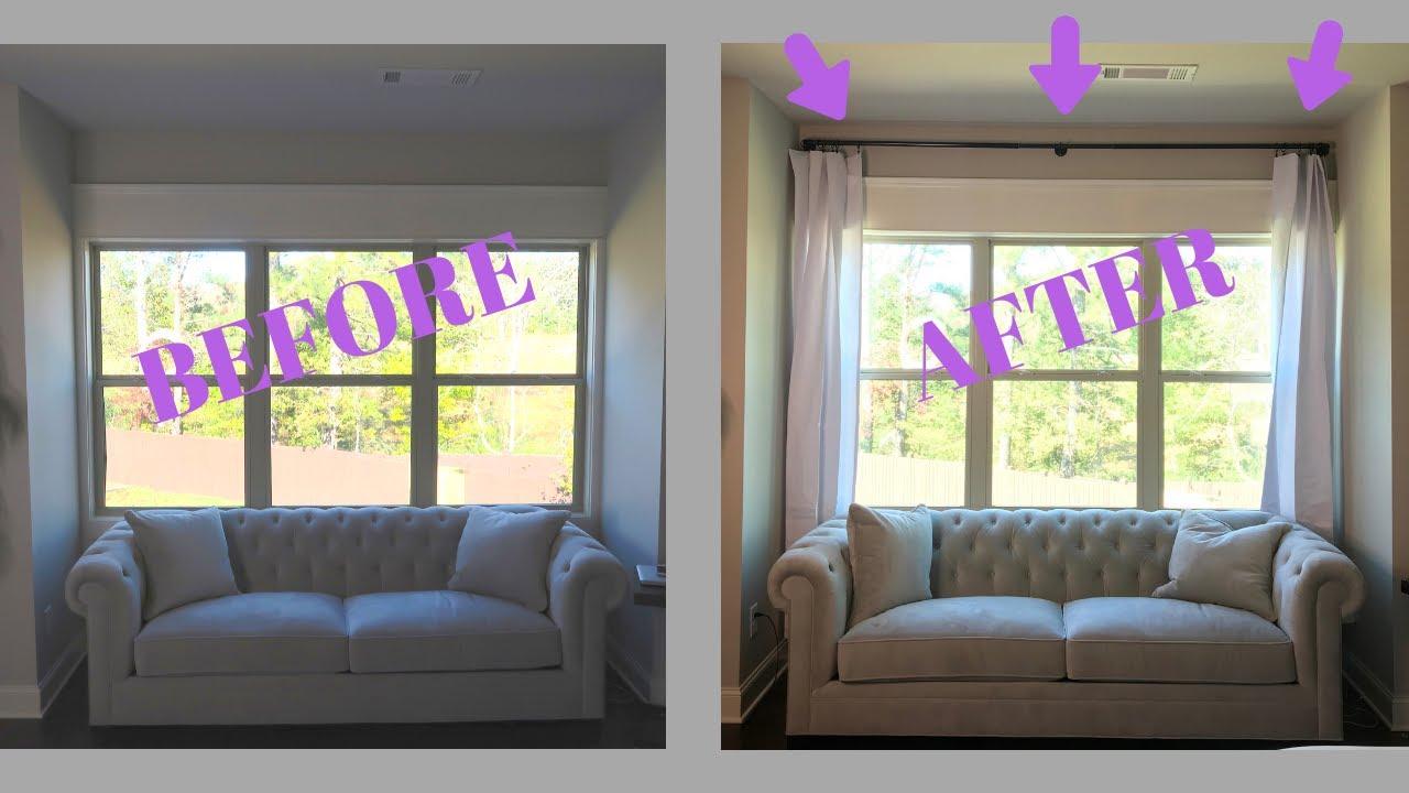 drapes diy how to hang curtain rod and window treatments drape panels
