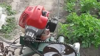 окучиватель картофеля, двигатель с мото-косы, самоделка