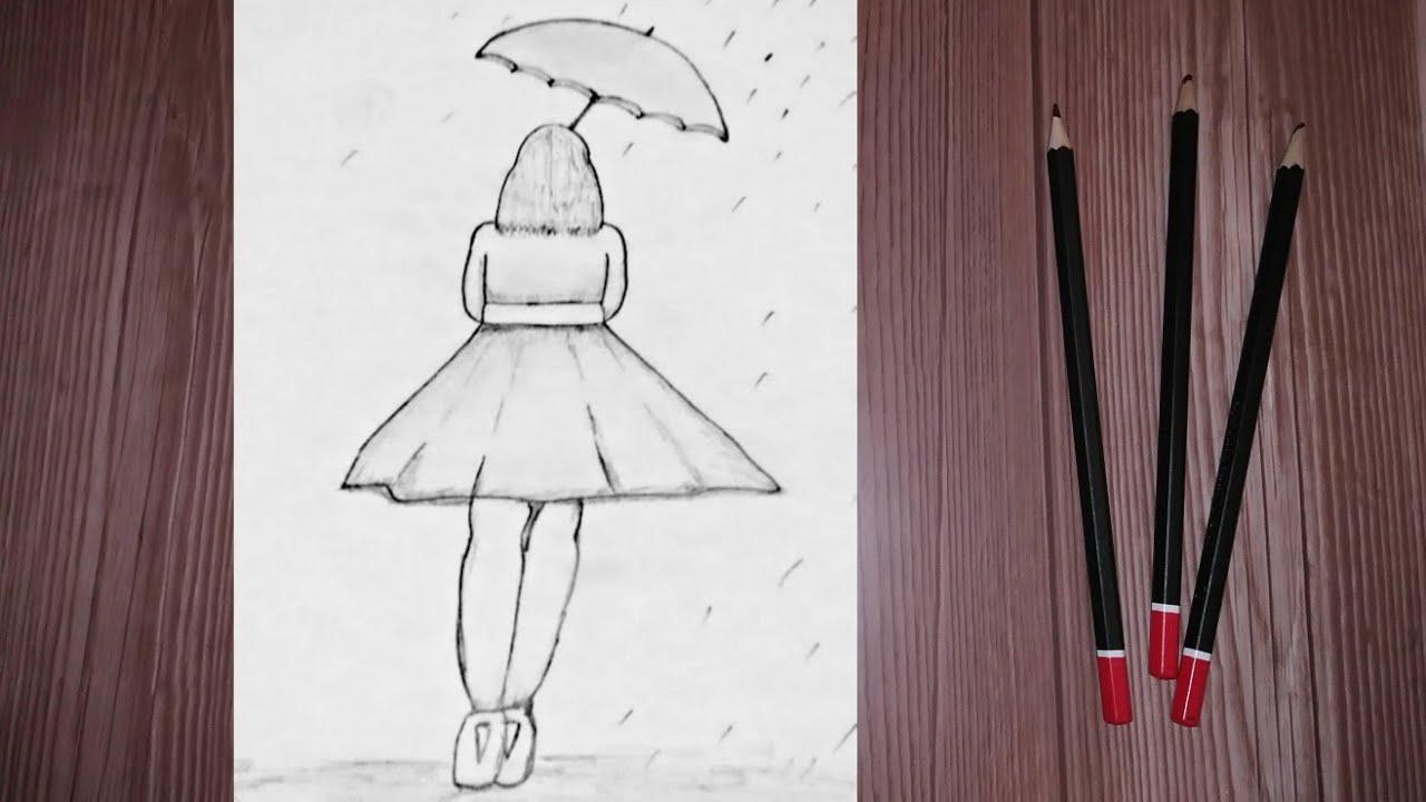 تعلم رسم فتاة تحمل مظلة بطريقة سهلة للمبتدئين Youtube