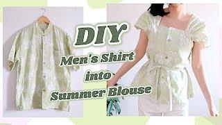 Refashion DIY Men's Shirt into Summer Blouse / 古着リメイク / Thrifted Transformations / COSTURAㅣmadebyaya
