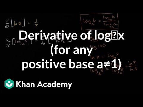 Derivative of log_x (for any positive base a1) | AP Calculus AB | Khan Academy