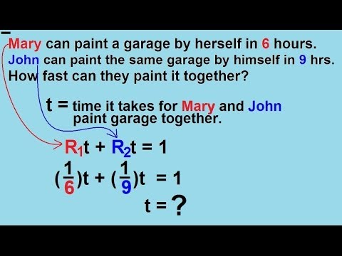 Algebra - Word Problems - Rates of Performing Work 1/3 - YouTube