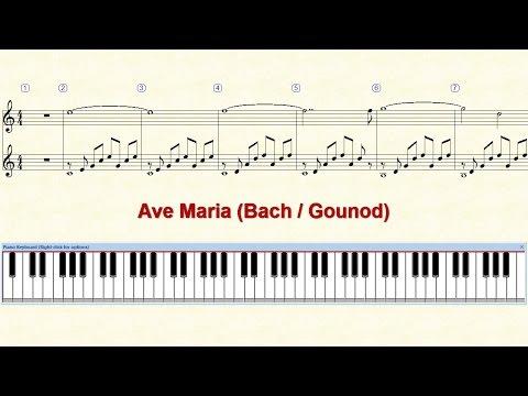 Piano Tutorial Sheet - Ave Maria (Bach - Gounod) - HD