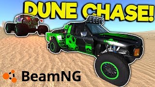 MONSTER TRUCK VS TROPHY TRUCK CHASES & CRASHES! - BeamNG Gameplay & Crashes - Jumps & Stunts