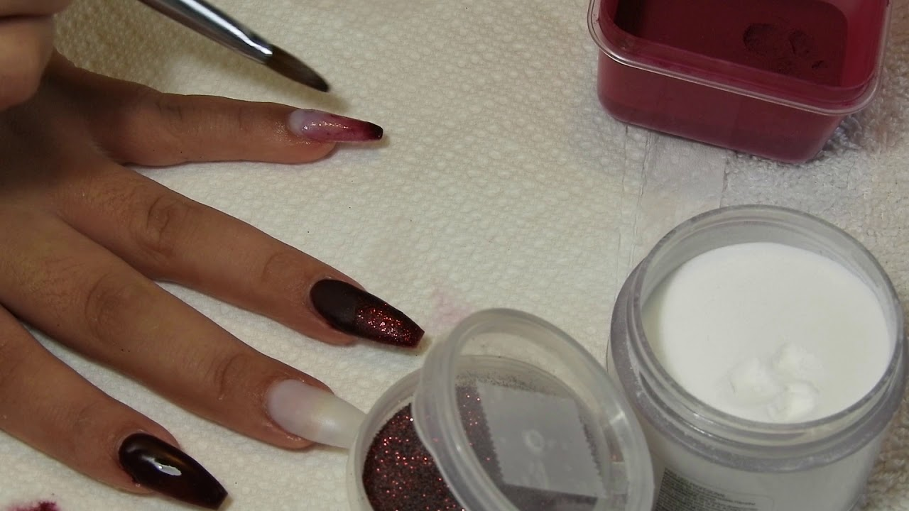 uñas color vino y marmoleado en acrilico - YouTube