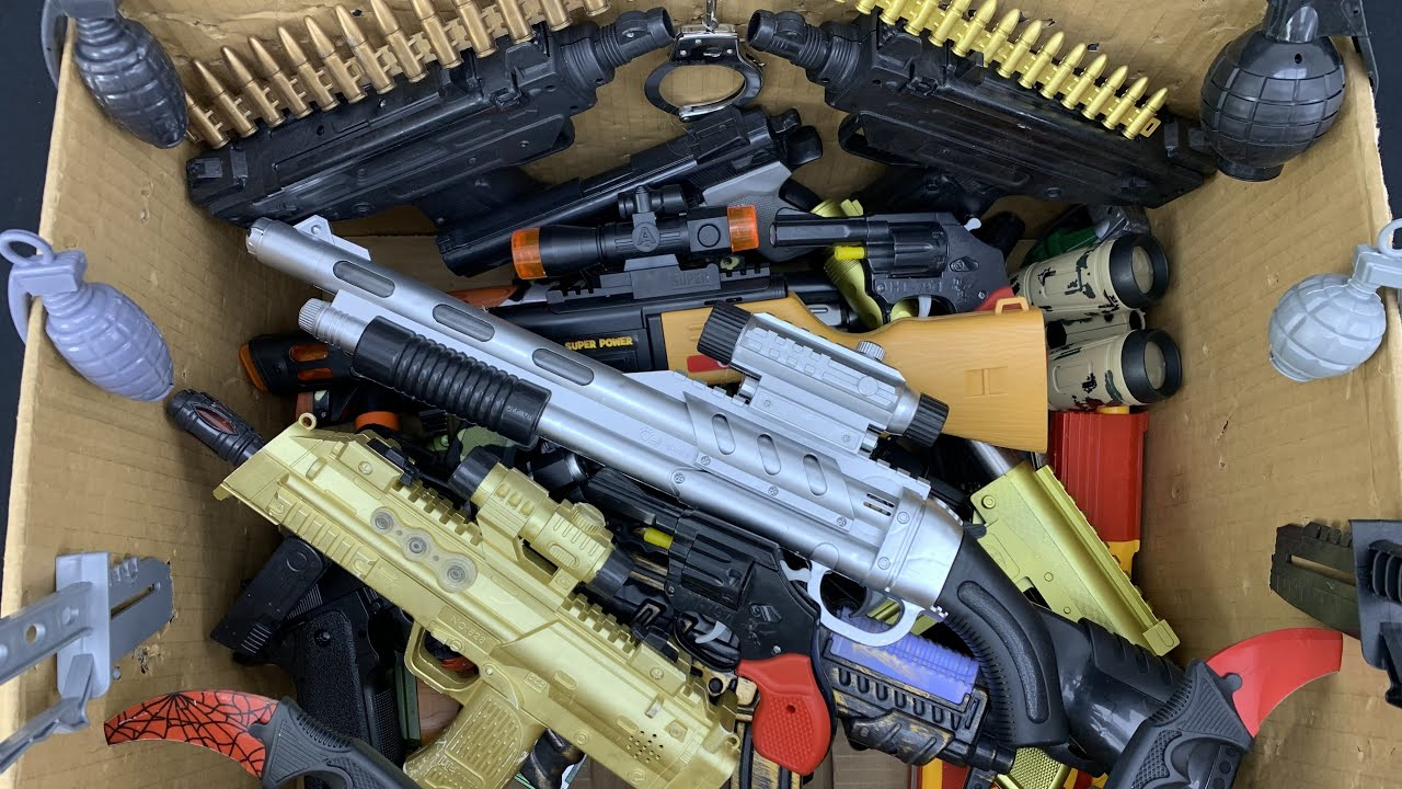 Grenade Explotions! Rifles and Pistols! Colorful Toy Box Collection!