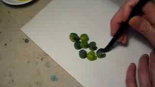 Mixing color to paint green grape