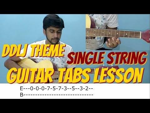 Tujhe Dekha To Ye Jaana Sanam - DDLJ EASY GUITAR Tabs/Lead Lesson   SINGLE STRING In Hindi