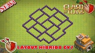 MELHOR LAYOUT HÍBRIDO CV7 ATUALIZADO - FARM / PUSH / GUERRA - CLASH OF CLANS 2017