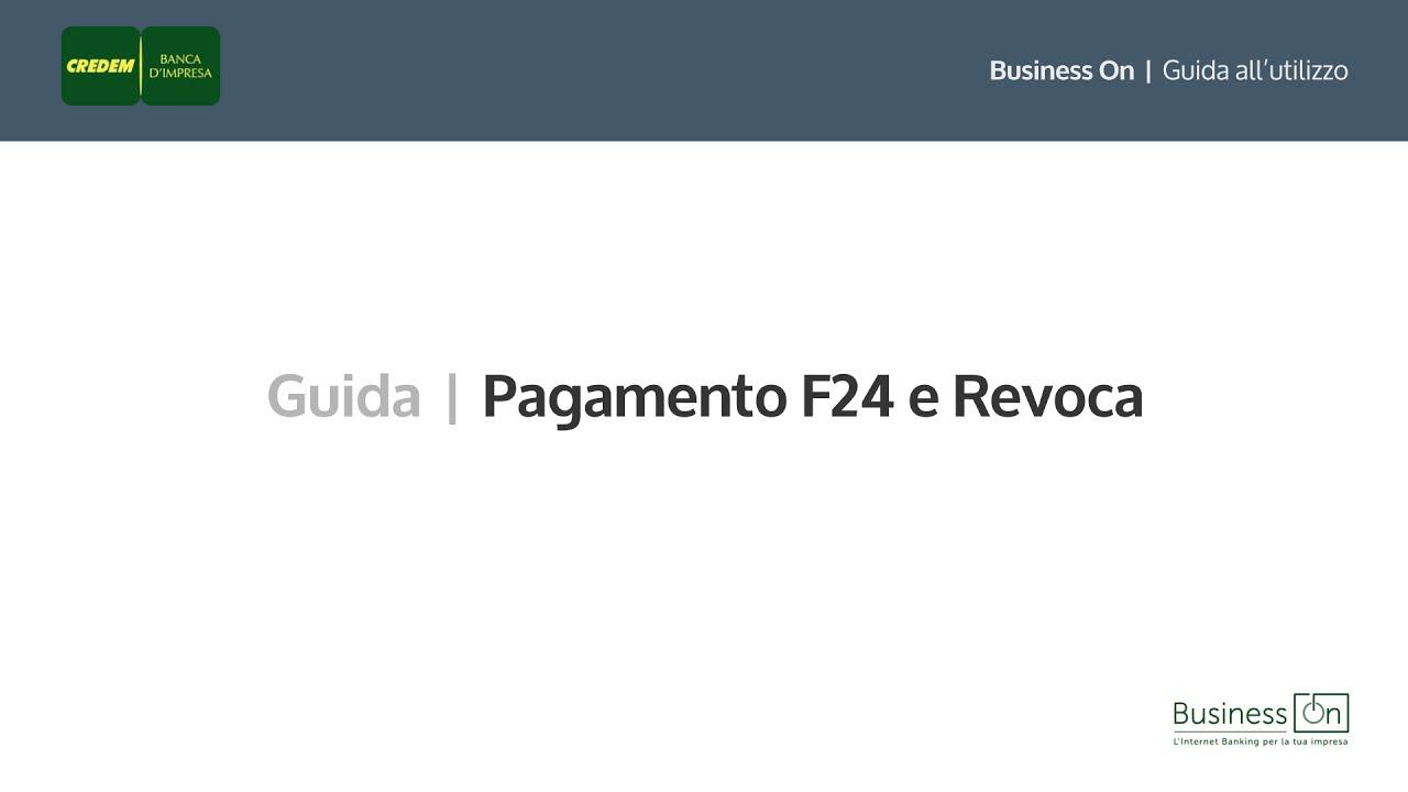 Credem Business On   Pagamento F24 E Revoca. Credem Banca