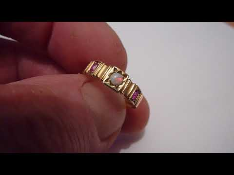 Victorian/Antique 15 Carat Gold, Ruby & Natural Opal Ring. 1877. Size. M
