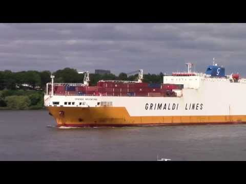 RO-RO / Container Ship GRANDE ARGENTINA departing Hamburg, Germany on Elbe River (June 15, 2015)