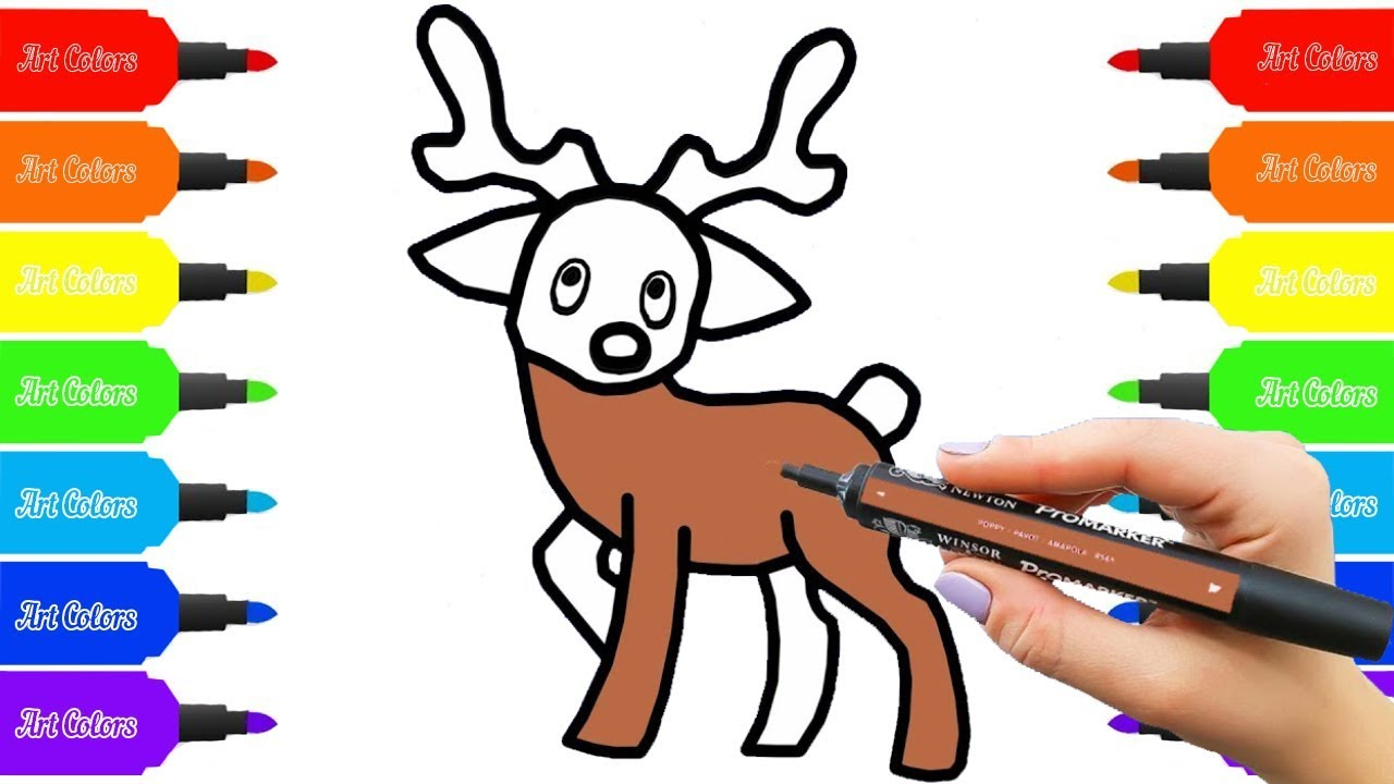 Super Coloring How To Draw A Reindeer For Kids Learn Colors
