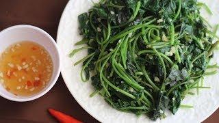Stir-fry Sweet Potato Leaves with Garlic (Rau lang xào tỏi)