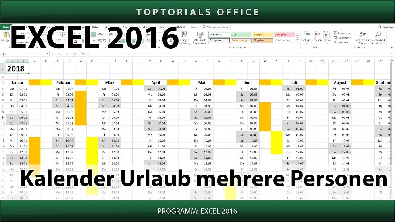 Kalender / Urlaub für mehrere Personen markieren + Download (Excel ...