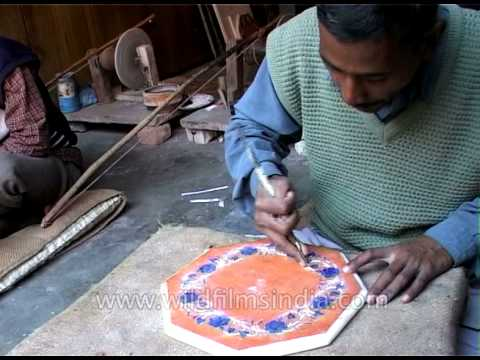 Meticulous marble handicrafts in Agra, India
