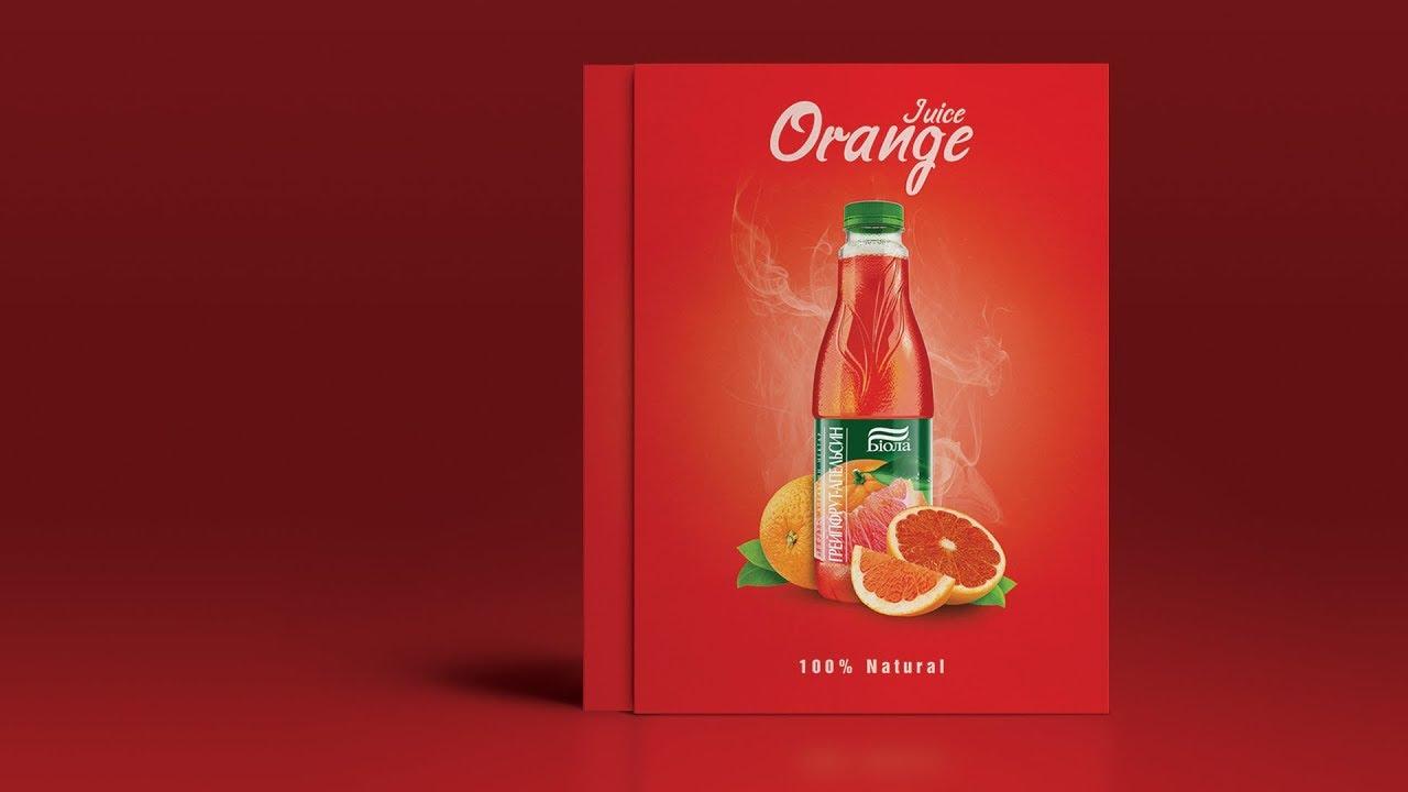 Orange Juice Advertising Poster Design - Photoshop ...