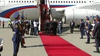 Президент России прибыл в Баку, где сегодня состоятся встречи с президентами Азербайджана и Ирана.