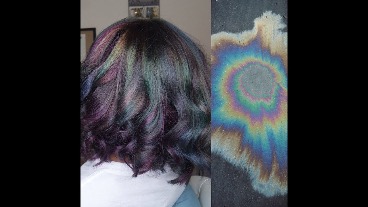 Oil Spill/Oil Slick/Iridescent Hair Color | Tutorial - YouTube