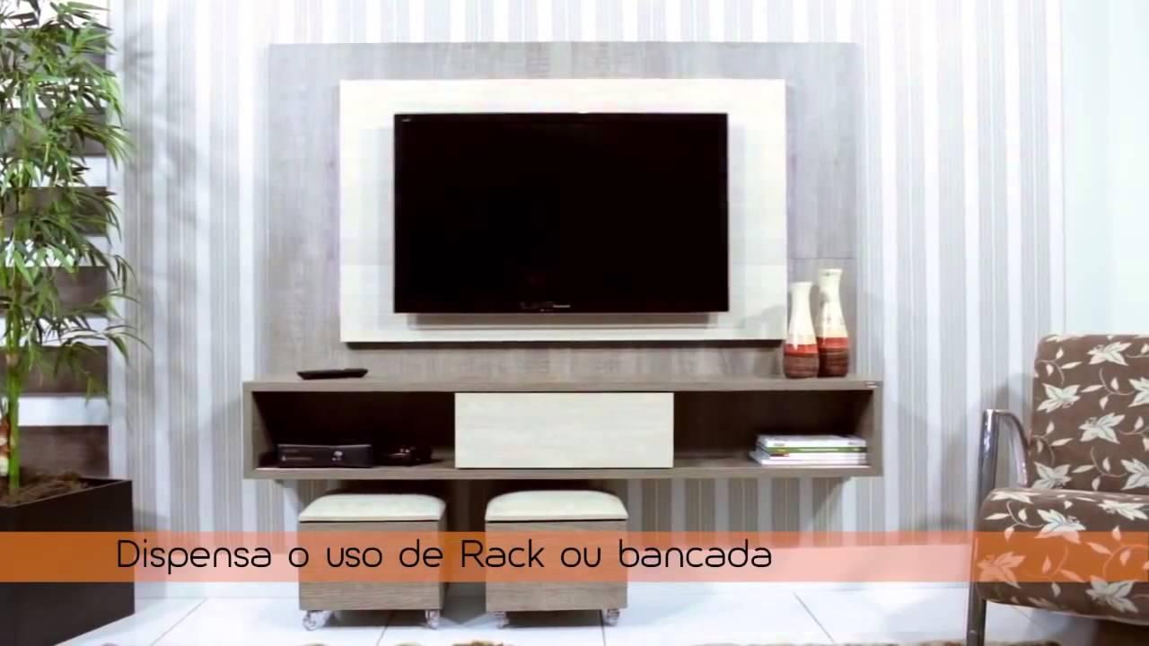 Rack Planejado Sala Pequena ~ Painel Suspenso HB Lume para TV com 1 Porta de Correr  YouTube