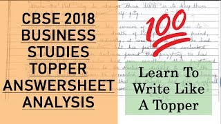 CBSE 2018 B ST TOPPER ANSWER SHEET Lessons from Topper Business Studies Board 2019 Tips amp Tricks