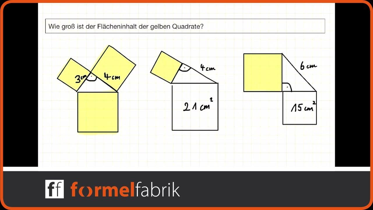 Pythagoras: Berechne den Flächeninhalt der Quadrate - YouTube