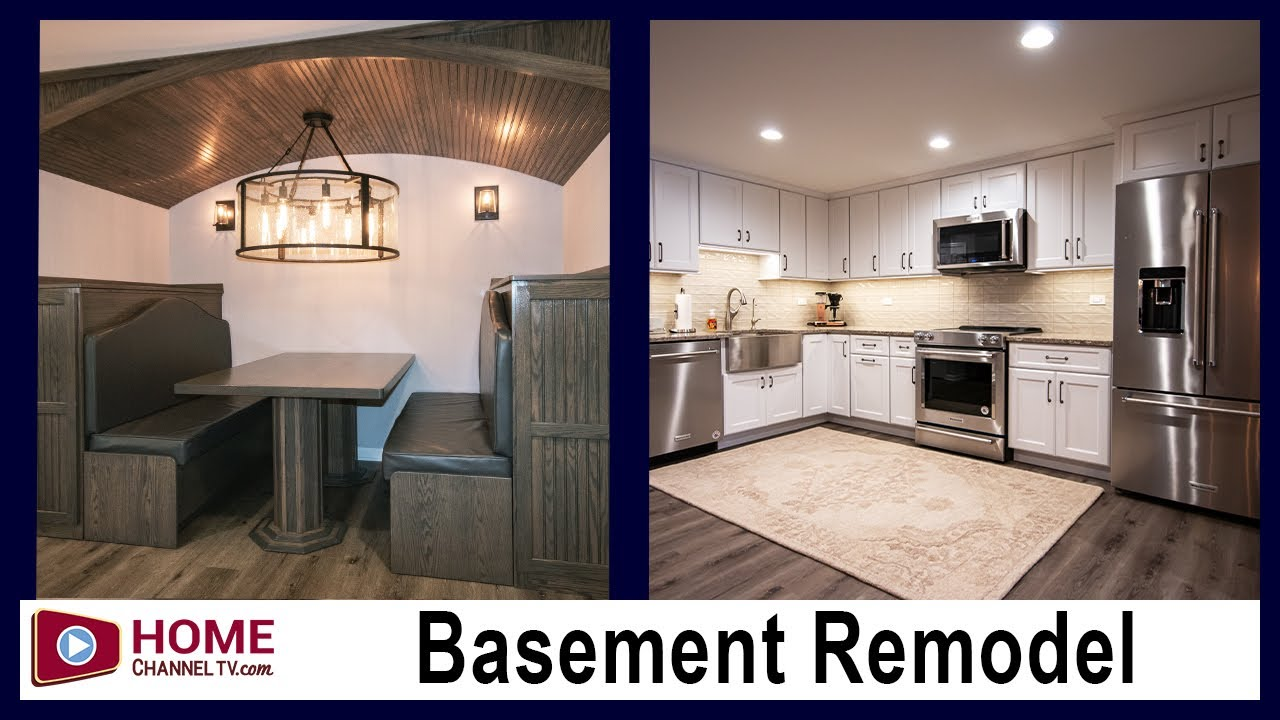 Basement Remodel with Full Kitchen & Custom Booth | Great Remodeling & Renovation Ideas