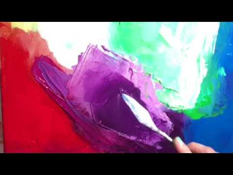 Part 2 of 3- Palette Knife Painting Demo- Abstract Acrylic Painting