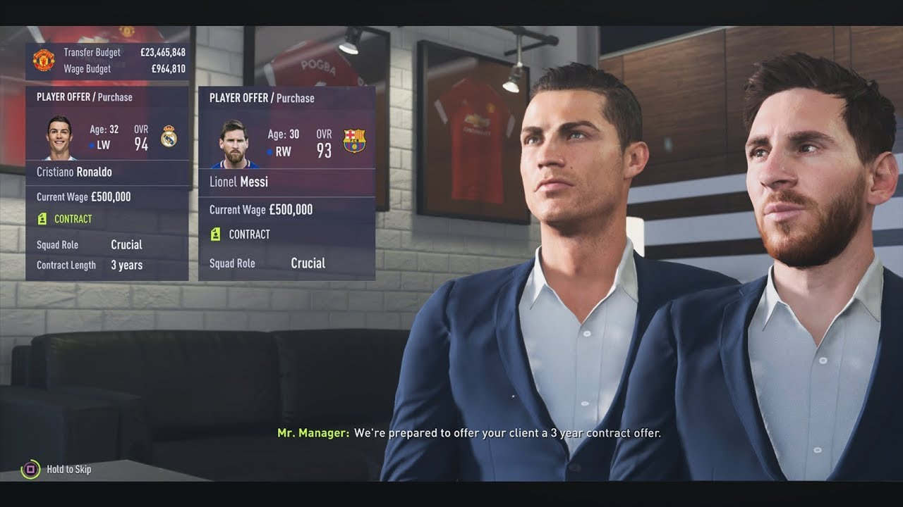 signing both messi and ronaldo in fifa 18 career mode youtube. Black Bedroom Furniture Sets. Home Design Ideas