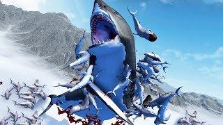 FLYING SHARKS vs MEGA-MEGALODON! - Beast Battle Simulator Gameplay | Pungence
