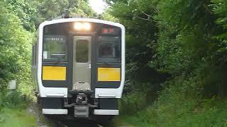 [警笛あり]JR東日本 水郡線 キハE130系 常陸津田駅付近通過