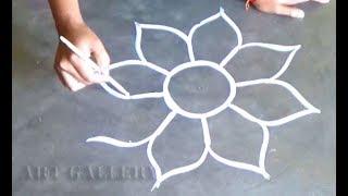 Easy & quick Big Flower designs | Amazing colourful big Kolam designs