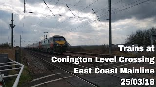 Trains at Conington Level Crossing, ECML | 25/03/18