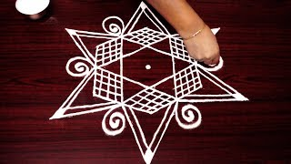 How to draw star rangoli with design 5x3 dots - Simple kolam designs - Simple muggulu for beginner