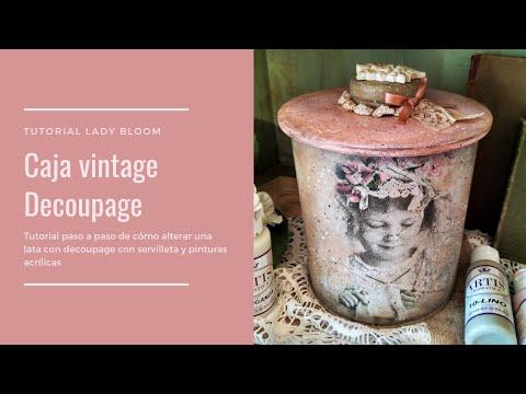 Caja Vintage con decoupage con servilleta y pinturas acrílicas - Del baúl de los recuerdos...
