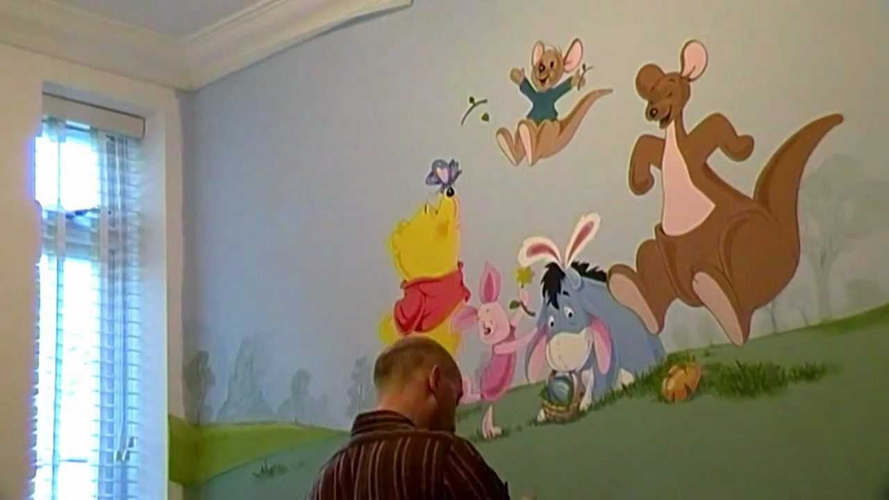 winnie the pooh bedroom mural wall 2 time lapse youtube. Black Bedroom Furniture Sets. Home Design Ideas